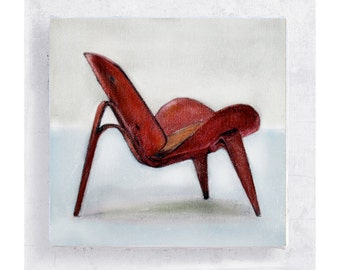 Chair Art - Realism - Hans Wegner Shell Chair -  Canvas Print on 5x5 Art Block - Designer Furniture Art - Retro Wall Art - Home Decor
