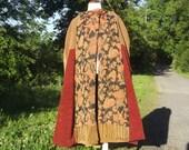 Hooded cape, lined long handmade fabric piecework cloak wrap, autumn colors, women medium large,men small medium, gold brown green russet