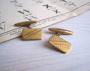 Etched Vintage cufflinks - retro 1960s brass - etched stripe detail from the UK