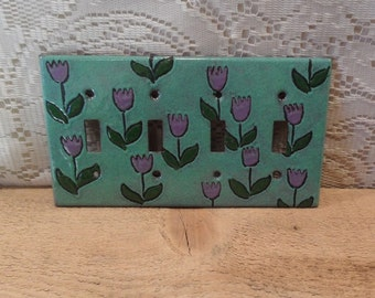 Switchplate Copper enameled switchplate cover purple tulips quadruple toogle