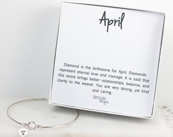 Personalized April Birthstone Swarovski Silver Bracelet, Crystal Sterling Silver Bracelet, April Birthday, Personalized Bracelet