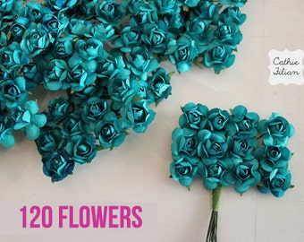 120 Teal Paper Flowers - small bouquet - wedding, bridal, baby showers, invitation making, scrapbooking