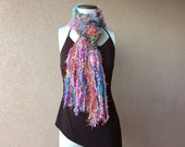 Long Scarf Neon Women's Bright Scarf Accessories Scarf in Teal, Pink, Aqua Orange Multicolor Girls Scarf