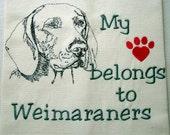 Waffle Weave Tea Towel - My heart belongs to Weimaraners - choose your favorite breed