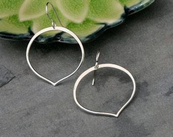 Small Lotus Petal Hoop Earrings, Sterling Silver Hoops, Lotus Flower Petal Dangle Eternity Hoops, Metalsmith Jewelry Kamala Flower