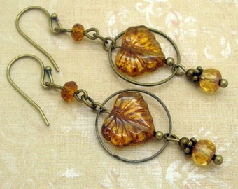 Bohemian Jewelry, Rustic, Boho Earrings, Fall Leaves, Autumn Palette, Woodland, Nature, Brown Glass, Brass, Neo Victorian