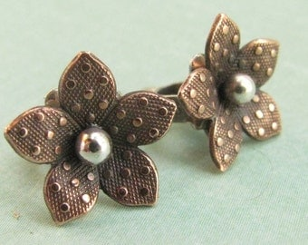Copper Earrings, Mixed Metal Earrings, Copper Jewelry, Sterling Silver Stud Earrings Post Back Earrings, Small Flower Earrings, Flower Studs