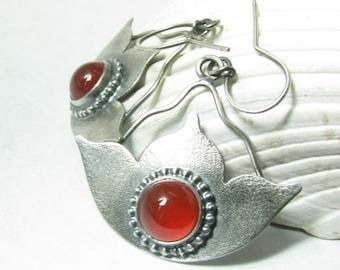 Large Carnelian Earrings, Fiery Lotus Earrings, Argentium Silver Earrings, Gemstone Statement Earrings, Metalsmith Jewelry, Yoga Art Jewelry
