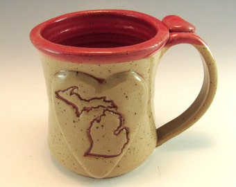 Michigan Mug/Hand Made Love Michigan Heart Mug/Pottery Michigan Mug