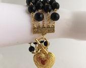 Monaco Lane Bracelet (Inspired by Grace Kelly in 'Rear Window') large vintage heart locket or french gold coin