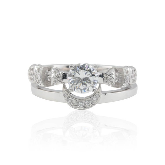 Sun and Moon Rings, CZ Sun, Crescent Moon, Full Moon and Stars Wedding Ring Set in 14k White Gold - LS2320