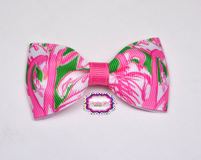 "Pink Colony ~ 3"" Hair Bow Tuxedo Bow ~ Lilly Inspired ~ Simple Bow ~ Boutique Bow for Babies Toddlers ~ Girls Hair Bows"