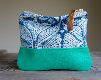 Wood Block Indigo and Leather Pouch//Reversible