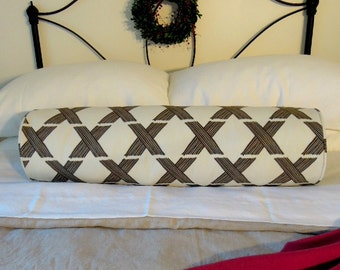 Ready-Made Bolster Pillow Cover with Piping, Bedding, 8x30, Lattice, Gray, Grey