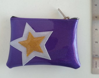 Coin purse purple metalflake vinyl with platinum and gold stars