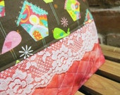 Bird House Printed Cotton Make-up Bag / Toiletry Bag / Wet Bag / Project Bag with Snap Handle - FREE SHIPPING
