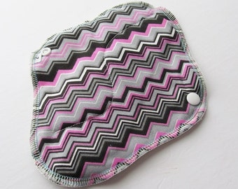 Cloth Pad / Menstrual Cloth / Moon Pad  - Pink & Black Chevron Printed 8 Inch FREE Shipping