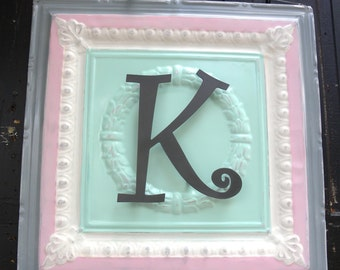 """Personalized Wall Plaque with the initial """"K"""" -24x24 Repurposed Ceiling Tin with Metal Initial"""