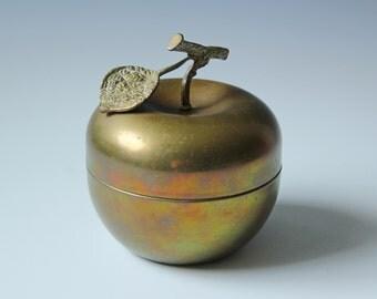 Vintage solid brass apple trinket box