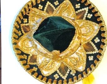 Sombrero PIGALLE XXXXXXX Emerald Green Mexican Charro Made in MEXICO Mariachi Beaded Sequins Children's Sombrero Hat