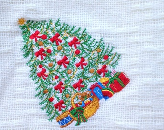 Christmas Throw Woven WOOL Made in the USA Lands End VIntage 70s Christmas Tree