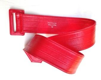 Red Belt Polyurethane Vintage 80s Size XL Wide