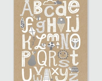 ABC Alphabet Print - Art Print 11x17