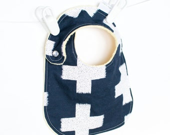 Baby Boy Bib Adjustable Baby Bib with Minky Crossed Impressions