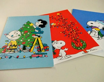 3 Vintage Snoopy Peanuts Gang Christmas Holiday Greeting Cards Paper Ephemera