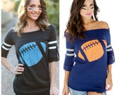 The Big Game.  Black or Navy Old School Football Sweatshirt with Orange or Blue Football.    Made in the USA.  Off the Shoulder Football Top
