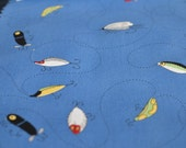 Fishing Lures and Flies FABRIC Kristen Berger Fishline Fabric for Maywood Studio MAS8851-B