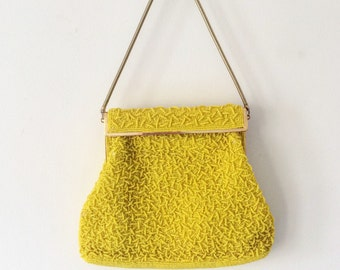 Vintage Yellow Beaded Purse for Wedding, Prom, Spring or Summer Formal