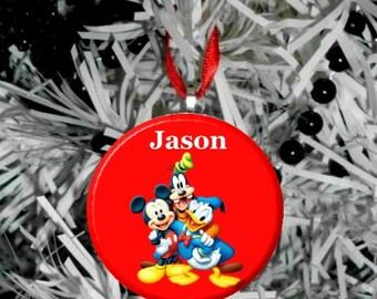 Disney Mickey Donald Goofy Personalize Option Christmas Tree Ornament