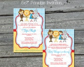 Wizard of Oz BABY SHOWER  Invitation - Tin Man Cowardly Lion Scarecrow  -  Printable Invite - 5x7 digital file