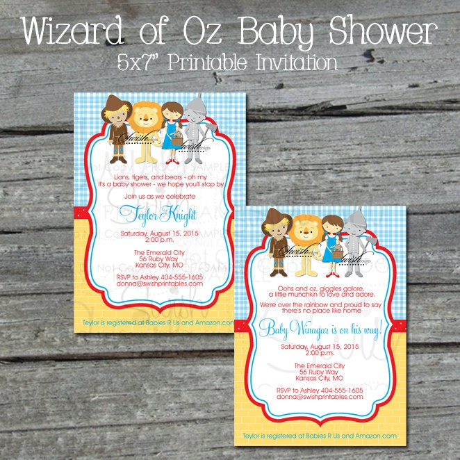 wizard of oz baby shower invitation tin man by swishprintables