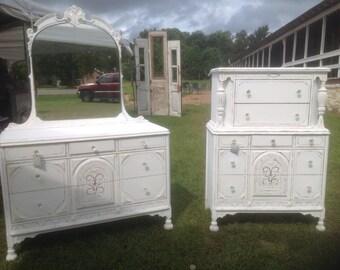 Shabby Cottage White Mirrored Dresser & Tallboy Dresser Antique Farmhouse