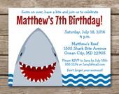 Shark Invitation, Shark Birthday Invitation, Shark Party Invitation, Shark Invite, Shark Birthday Invite, Fish Invitation, PRINTABLE