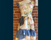 Plus Size Country Print Dress: size 16-18, Long floral print summer dress, eco vintage, repurposed, tattered cottage chic womens dress
