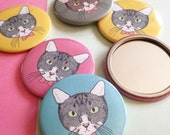 Pocket Mirror with Cat Face Illustration