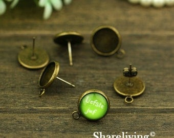 10pcs Antique Solid Brass Earring Posts With Round 12mm Tray & one Loop  EA333A