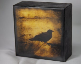 Gold Black Crow Encaustic Photograph on Wood Panel--Wind in My Feathers--4x4 Fine Art