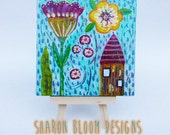 Original Mini Acrylic Painting on Canvas House Flower from Sharon Bloom Designs