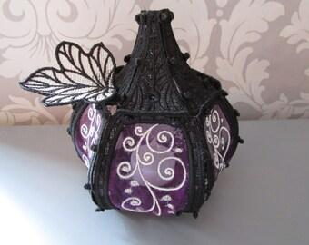 Embroidered Purple Organza Pumpkin Goth/Gifts/Craft/Steampunk