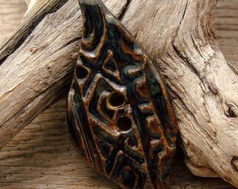 AZTEC BUTTON - Dark Blue with Oil Slick and Bronze Accent Button - Handmade Ceramic Button