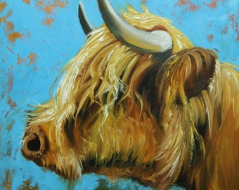 Cow painting 1148 18x18 inch animal original oil painting by Roz