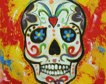 Sugar Skull 1 12x12 inch original oil painting by Roz