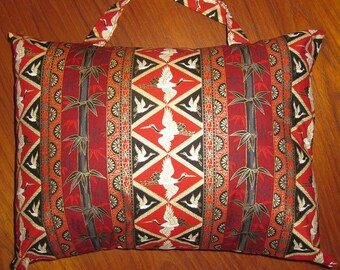 Asian Cranes and Bamboo Travel Pillow with Handle Japanese Asian Design Red