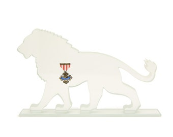 Cowardly Lion Glass Sculpture Screen-Print Art Medal of Courage