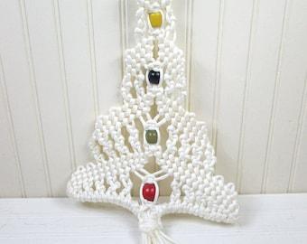Vintage Hanging Macrame Christmas Tree Decoration White Beaded Wood Beads Retro