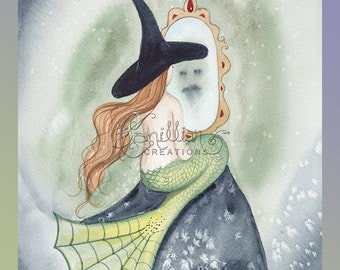 Face in the Mirror Witch Mermaid Original Watercolor Painting by Camille Grimshaw